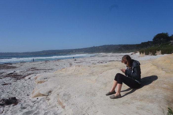 Planning pit-stop on the beach at Monterey Bay