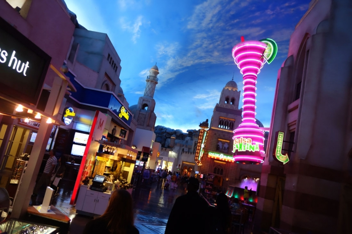 The fake outdoor mall inside Planet Hollywood