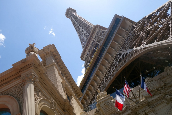 The replica of the Eiffel Tower at the Paris casino