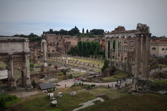 View from outside the Roman Forum, looking in.