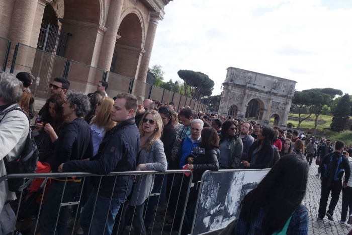 The queue at the Colosseum is considerably longer!